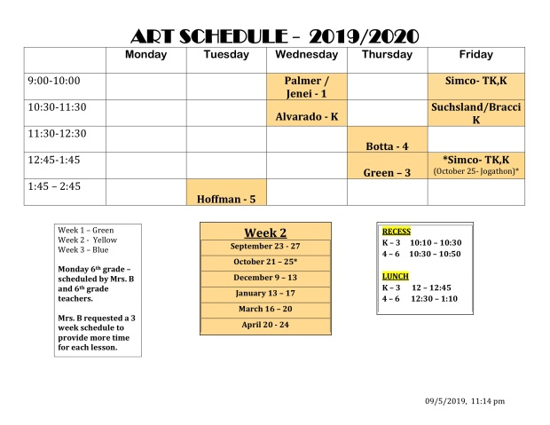art schedule fall p2