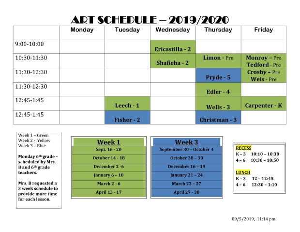 art schedule fall